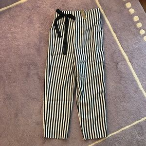 NWT- J Crew Black and White Striped Silk Pants